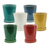 """Tall Round Pot with Attached Saucer 6"""""""