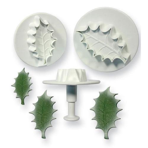 PME 3pc Veined Holly Leaf Fondant Plunger Cutter Set HLL664