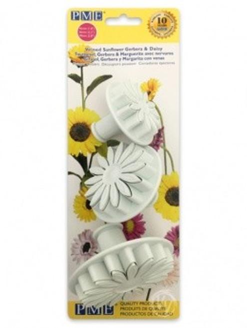 PME 3pc Veined Sunflower Daisy Fondant Plunger Cutter Set SD618