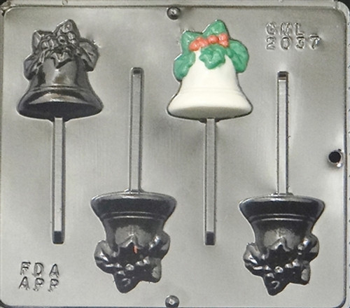 CML Bell with Holly Pop Chocolate Mold 2037