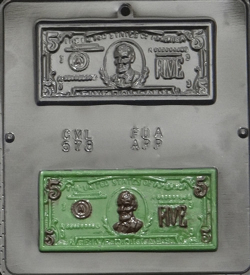 CML Five Dollar Bill Chocolate Mold 578
