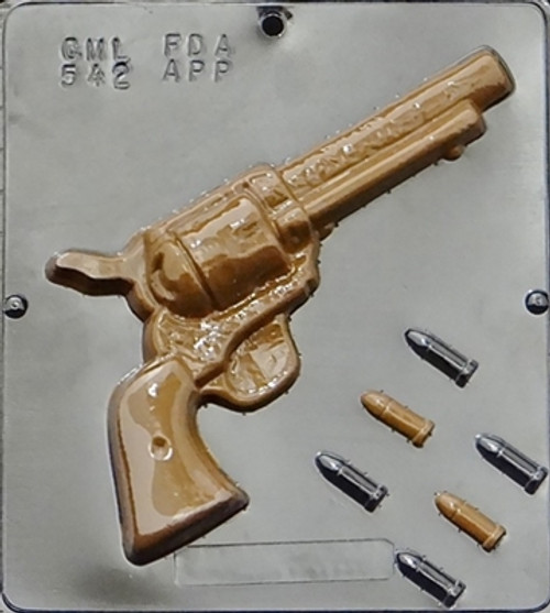 CML Revolver and Bullets Chocolate Mold 542