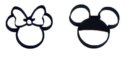 YNG Plastic 2pc Mickey and Minnie Head Cookie Cutter Set PR1017