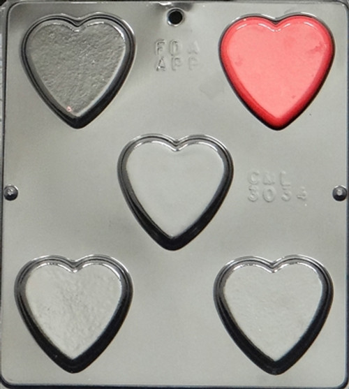 CML Plain Flat Heart Pieces Chocolate Mold 3034