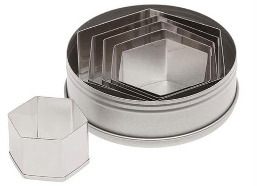 ATC 6pc Plain Hexagon Cookie Cutter Set in Tin 5251