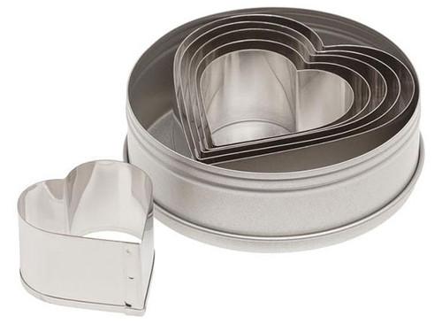 ATC 6pc Plain Heart Cookie Cutter Set in Tin 7804