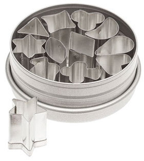 1/2 inch shape cutters in it's own storage tin.  Includes shapes for the suits of playing cards.   Made of tin.