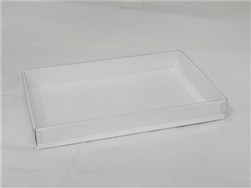 1lb White Candy Box with Clear Lid