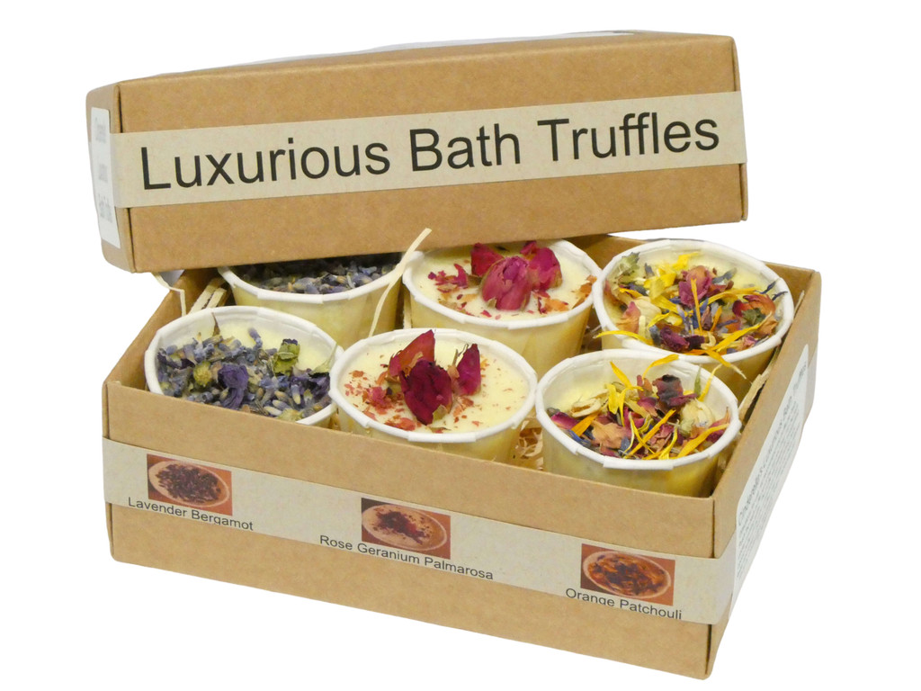 Bath Truffles The Ultimate Luxurious Cocoa Butter Bath Treat, our luxurious bath truffles come in an assortment of three beautiful essential oil blends- Lavender Bergamot, Rose Geranium and Palmarosa and Orange Patchouli.