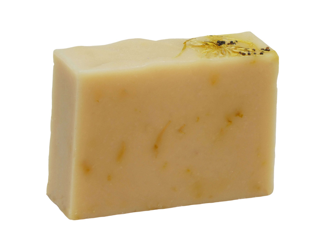 Buttermilk Calendula Soap, made with real buttermilk, and dried calendula flowers from my garden, this is a gentle, soothing soap suiting sensitive skin. Scented in Petitgrain essential oil, a close relative of Neroli.