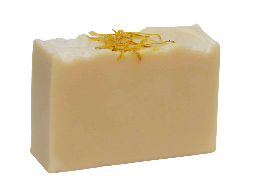 Castile Goat Milk Soap, Just fresh Goat Milk and  100% Pure  Australian Olive Oil and sprinkled with organic calendula petals. No fragrance.