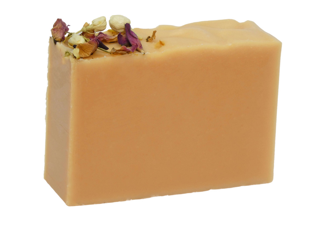 Jasmine Rosewood Soap, a delicate sweet match of jasmine blossoms and soft pink roses.