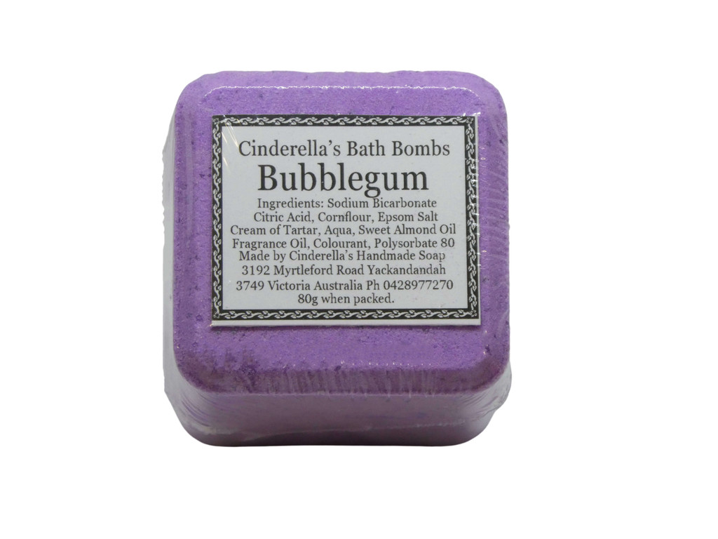 Bath Bomb Bubblegum Square. Designed to make bath time fun for all ages. Brightly coloured and fragranced in an assortment of fun fragrances.