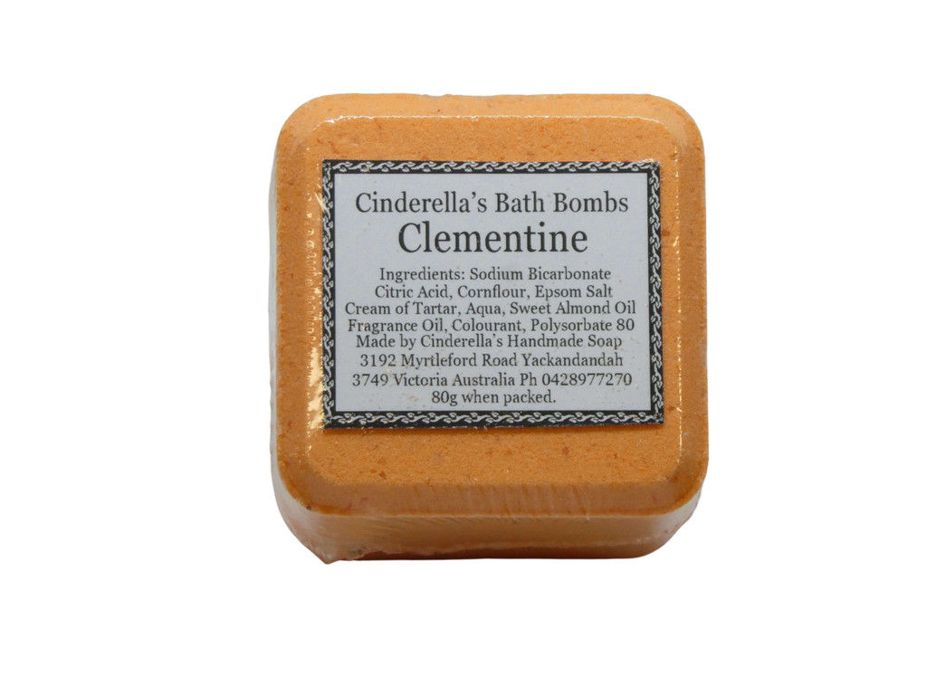 Bath Bomb Clementine (Mandarin) Square. Designed to make bath time fun for all ages. Brightly coloured and fragranced in an assortment of fun fragrances.