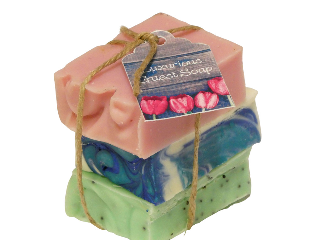Guest Soap Gift Packs Mixed Bundle, average weight per bundle 120g to 135g. Perfect to have on hand when guests arrive or for travelling and so much nicer than the commercial soaps. They also make a nice little thankyou gift.