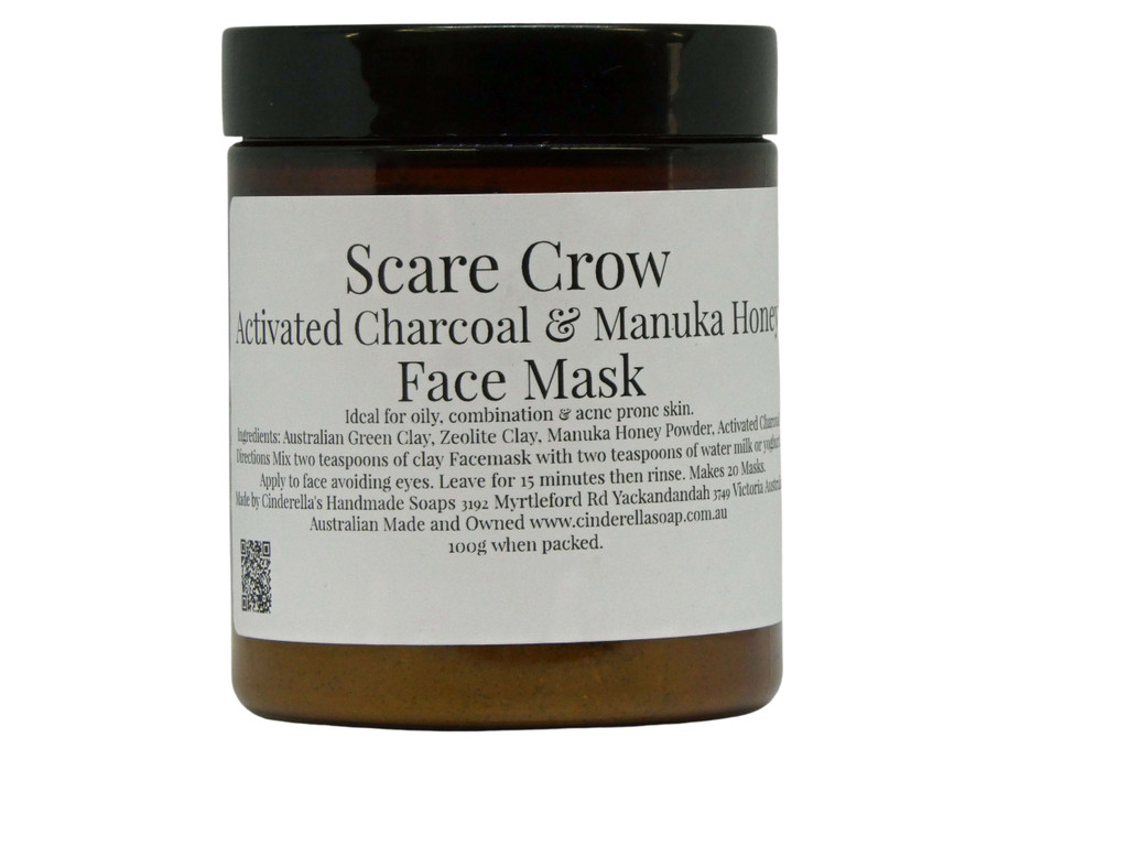 Face Mask (Scare Crow) Activated Charcoal and Manuka Honey Face Mask  Ideal for oily, combination and acne prone skin. A powerful, detoxifying face mask. Our mask also contains active Manuka Honey Powder which is an anti-bacterial and is preservative free. Directions: Simply mix 1-2 teaspoons of the face mask powder with an equal amount of yoghurt, milk, or water and apply avoiding eyes and mouth. Leave for 15 minutes and rinse off. Use weekly on clean skin for best results.