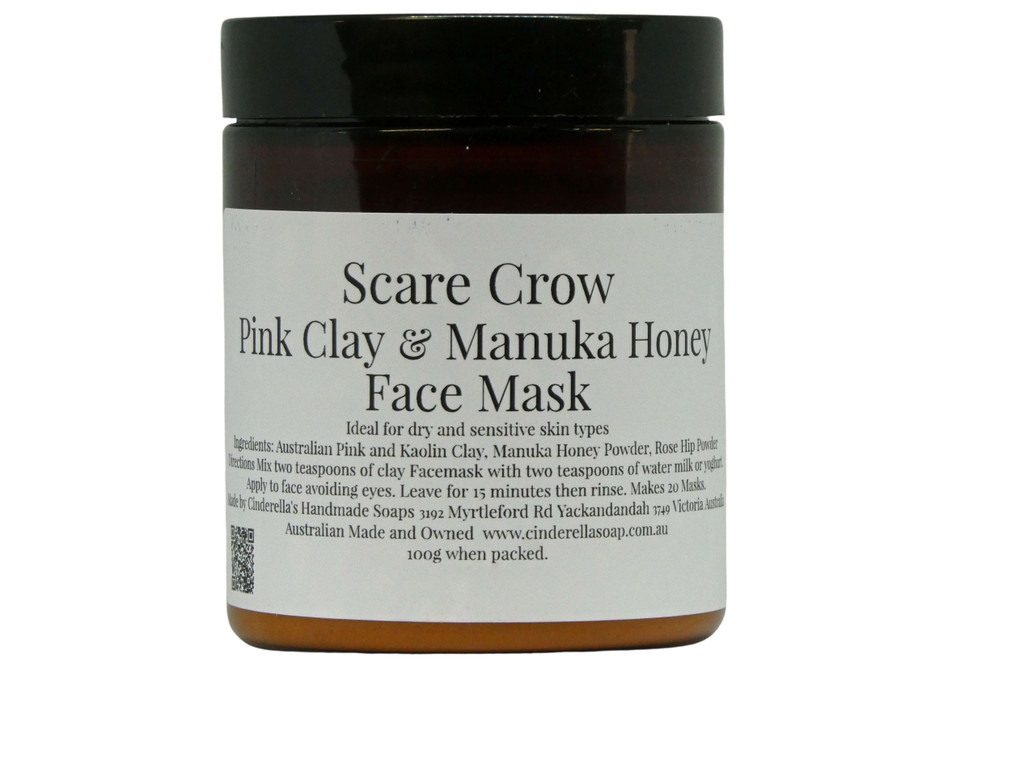Face Mask (Scare Crow) Pink Clay and Manuka Honey Face Mask. Ideal for dry and sensitive skin types. It also contains Rose hip powder which is anti-inflammatory and may assist with redness and irritation. Directions: Simply mix 1-2 teaspoons of the face mask powder with an equal amount of yoghurt, milk, or water and apply avoiding eyes and mouth. Leave for 15 minutes and rinse off. Use weekly on clean skin for best results.
