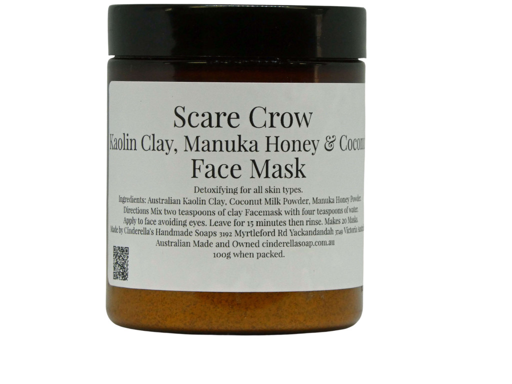 Face Mask (Scare Crow) Kaolin Clay, Manuka Honey and Coconut Face Mask. A gentle yet detoxifying mask suitable for all skin types and particularly mature type skin. This mask contains coconut milk powder which is packed with potassium folate and is rich in vitamins C, E and B. Directions Simply mix 1-2 teaspoons of the face mask powder with an equal amount of yoghurt, milk, or water and apply avoiding eyes and mouth. Leave for 15 minutes and rinse off. Use weekly on clean skin for best results.