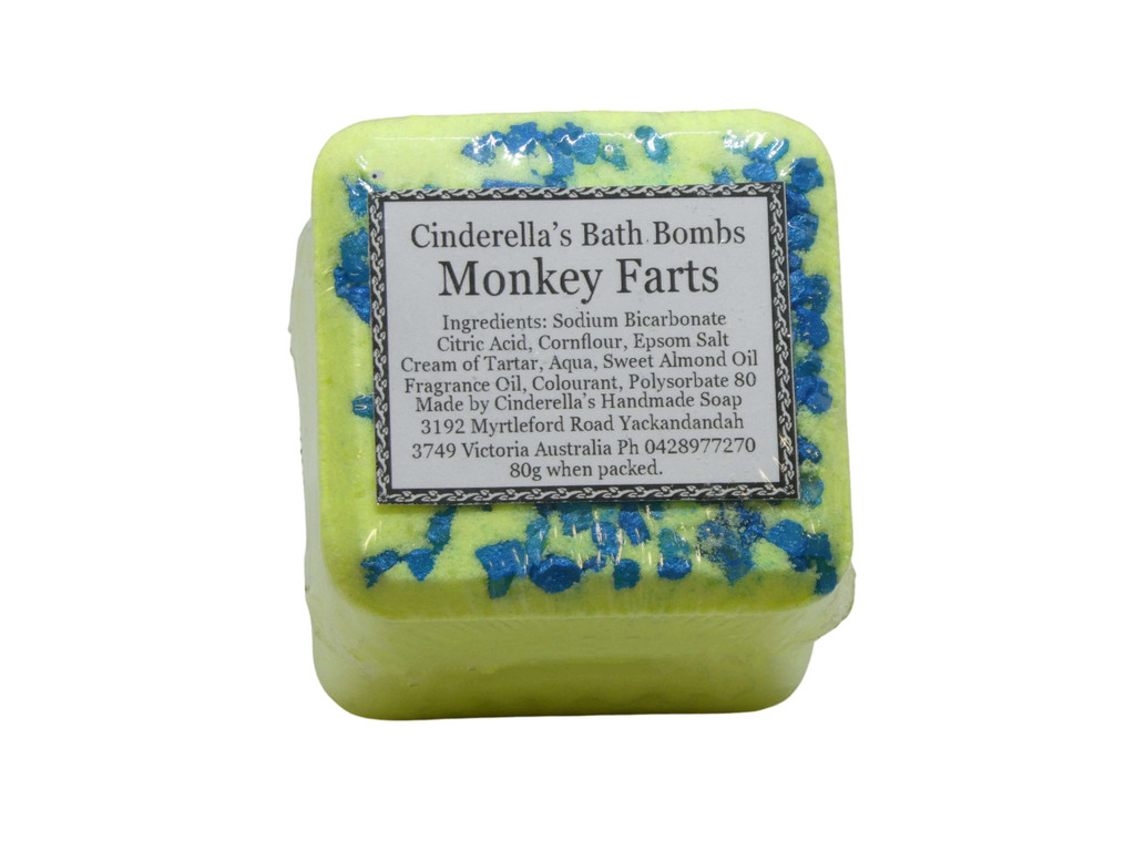 Bath Bomb Monkey Farts (Banana) Square. Designed to make bath time fun for all ages. Brightly coloured and fragranced in an assortment of fun fragrances.