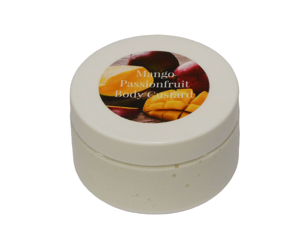 Body Custard, Mango Passionfruit. A rich and thick all over body cream for your whole body that absorbs easily leaving you silky soft and smelling delicious.