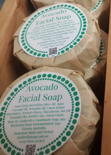 Avocado Facial Soap 110g when packed. Pureed Avocado, Macadamia, Avocado oils, and Kaolin Clay make this a great soap to use daily on your face to keep it clean and fresh. Scented with a blend of Sweet Orange, Petitgrain, Rose Geranium and Litsea Cubeba essential oils. Suitable for dry or mature skin types.
