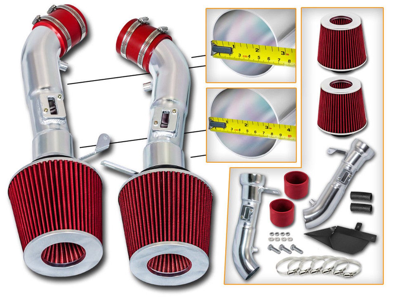 Red Cold Air Intake Kit for Nissan 370Z (2009-2019) with 3 7L V6 Engine