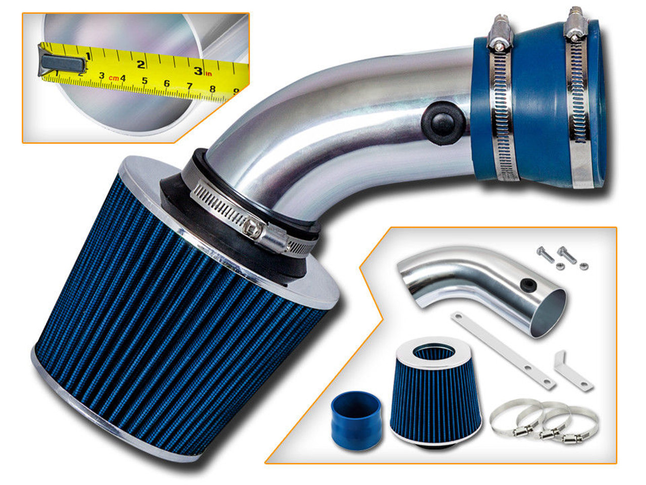 Blue Sport Air Intake System for BMW E32 / E38 740iL (1993-2001) with 4 0L  / 4 4L V8 Engine