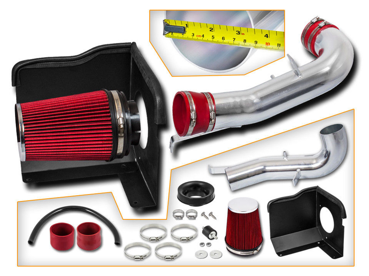 BLACK SILVER 2009-2014 GMC YUKON 4.8L 5.3L DENALI XL 6.2L V8 COLD AIR INTAKE KIT