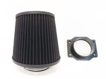 Air Intake Fitler+MAF Sensor Adapter For Nissan 300ZX (1990-1996) With 3.0L V6 Engine Black