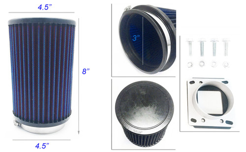 Air Intake Fitler+MAF Sensor Adapter For Mazda RX-7 (1986-1992) With 1.3L Engine Blue