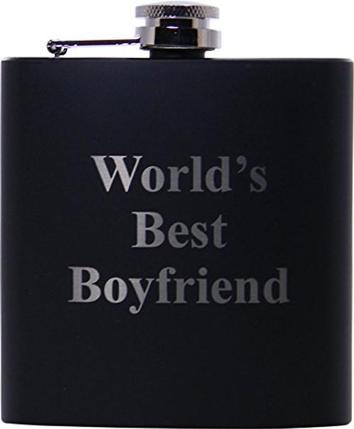 World's Best Boyfriend 6oz Flask - Great Gift for Birthday,Valentines Day, Anniversary or Christmas Gift for Boyfriend, BF
