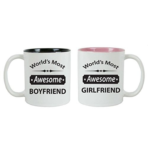 CustomGiftsNow World's Most Awesome Boyfriend/Girlfriend Ceramic Coffee Mugs Bundle - Great for for Dad, Mom