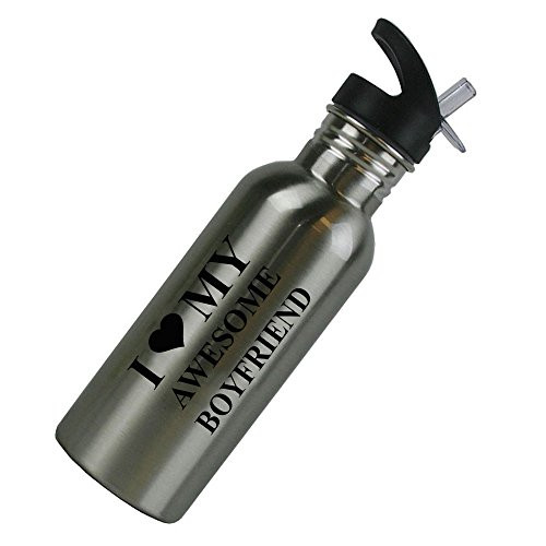 I Love MY Awesome Boyfriend Stainless Steel Silver 20 Oz (600mL) Water Bottle with Sport Top, Straw