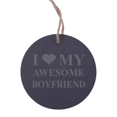 I Love my Awesome Boyfriend 3.25-inch Circle Slate Hanging Christmas Tree Ornament with String