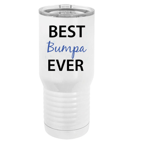 Best Bumpa Ever Stainless Steel Vacuum Double-Walled Insulated 20 Oz Tumbler Travel Coffee Mug with Clear Lid, White