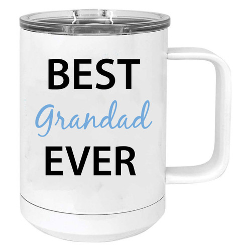 Best Grandad Ever Stainless Steel Vacuum Insulated 15 Oz Travel Coffee Mug with Slider Lid, White