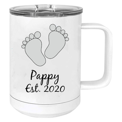 Baby Feet Pappy Est. Established 2020 Stainless Steel Vacuum Insulated 15 Oz Travel Coffee Mug with Slider Lid, White