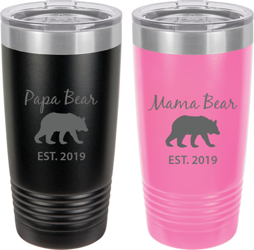 Papa Bear Est. 2019 - Mama Bear Est. 2019 Stainless Steel Engraved Insulated Tumbler 20 Oz Travel Coffee Mug, Black/Pink