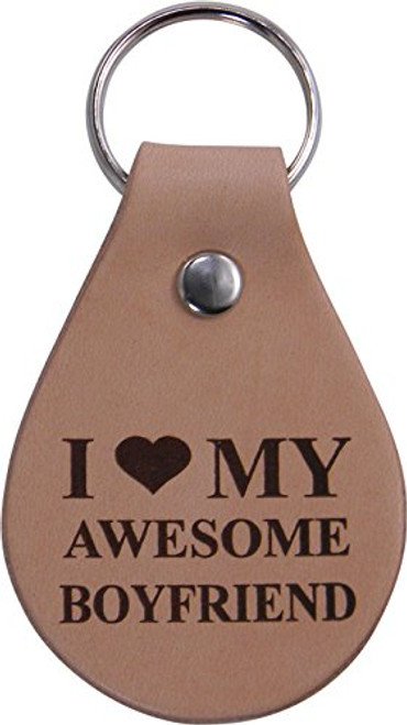 I Love My Awesome Boyfriend Leather Key Chain - Great Gift for Birthday,Valentines Day, Anniversary or Christmas Gift for Boyfriend, BF