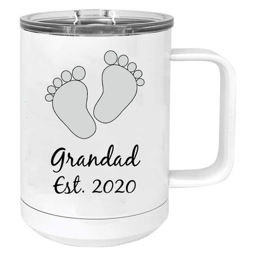 Baby Feet Grandad Est. Established 2020 Stainless Steel Vacuum Insulated 15 Oz Travel Coffee Mug with Slider Lid, White