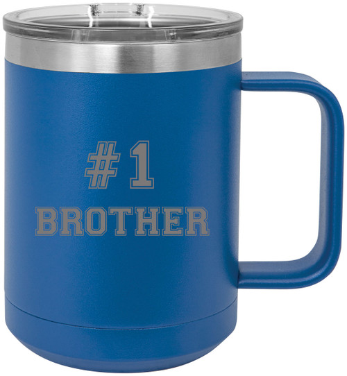 #1 Brother Stainless Steel Vacuum Insulated 15 Oz Travel Coffee Mug with Slider Lid, Blue