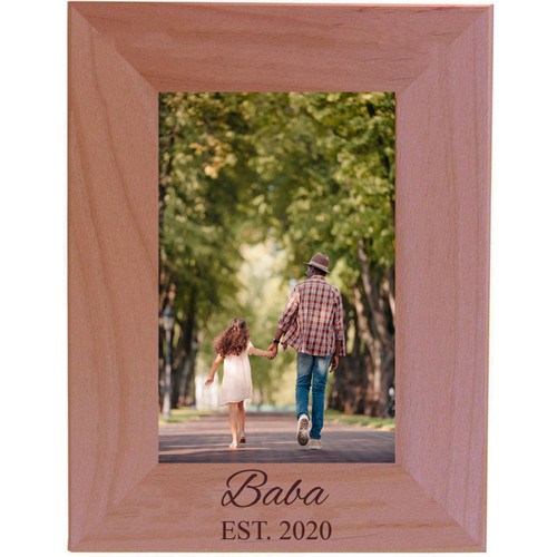 Baba Established Est. 2020 Engraved Alder Wood Picture Frame