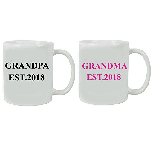 Grandpa + Grandma Established EST. 2018 Ceramic Coffee Mug Set with Gift Boxes - Great Gift for Expecting Grandparents