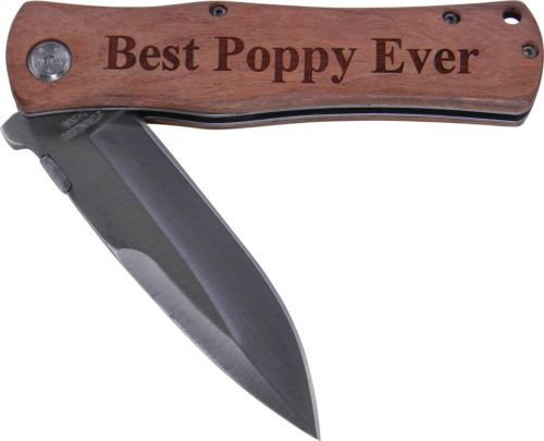 Best Poppy Ever Folding Pocket Stainless Steel Knife with Clip, (Wood Handle)