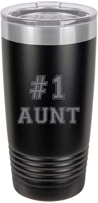#1 Aunt Stainless Steel Engraved Insulated Tumbler 20 Oz Travel Coffee Mug, Black