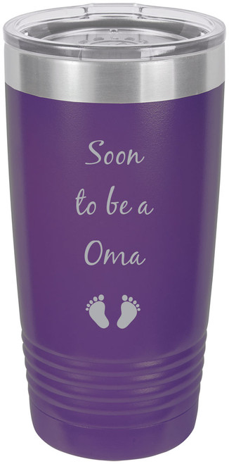 Soon to be a Oma Stainless Steel Engraved Insulated Tumbler 20 Oz Travel Coffee Mug, Purple