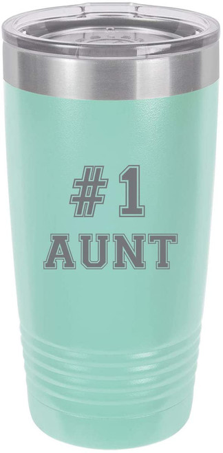 #1 Aunt Stainless Steel Engraved Insulated Tumbler 20 Oz Travel Coffee Mug, Teal