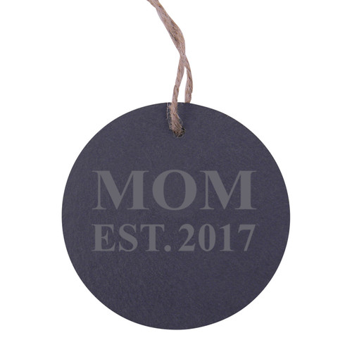 Mom Established 2017 Mom EST. 2017 3.25-inch Circle Slate Hanging Christmas Tree Ornament with String