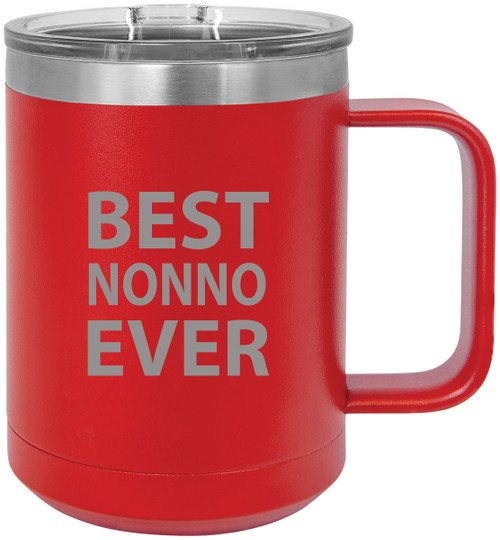 Best Nonno Ever Stainless Steel Vacuum Insulated 15 Oz Travel Coffee Mug with Slider Lid, Red
