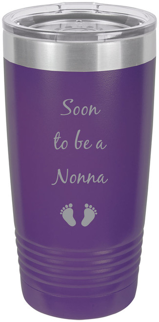 Soon to be a Nonna Stainless Steel Engraved Insulated Tumbler 20 Oz Travel Coffee Mug, Purple